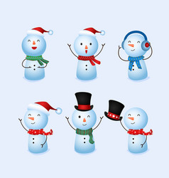 winter holidays cute snowman collection vector image vector image