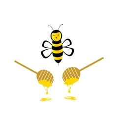 bee with honey yellow vector image