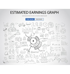 Estimate earnings concept with doodle design style vector