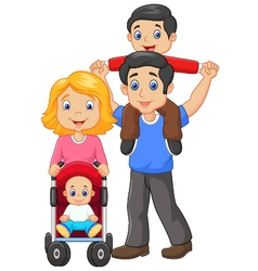 Father giving his son piggyback ride with mother vector image