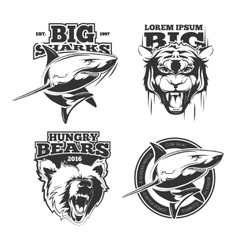Retro labels with grizzly shark and tiger vector image vector image
