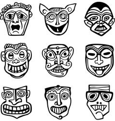 set of masks vector image