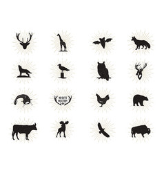 set of wild animal figures and shapes with vector image