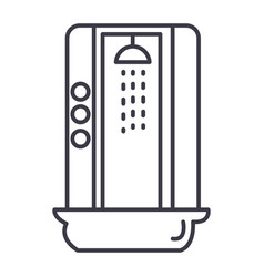 shower cabin line icon sign vector image
