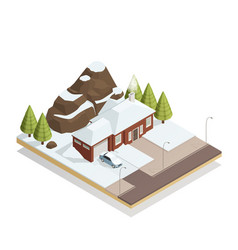 winter bungalow landscape isometric composition vector image