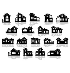 Black silhouettes of houses and cottages vector image