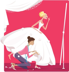 Bride fitting a dress vector image