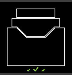 documents archieve or drawer it is white icon vector image vector image