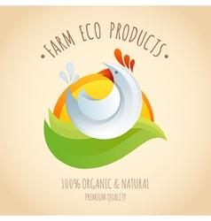 Farm chicken symbol icon vector image