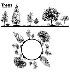trees collection ink trees silhouettes vector image vector image