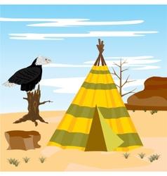 Wigwam in desert vector image