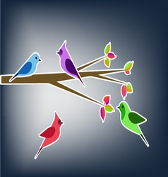 Birds in the spring collage vector image