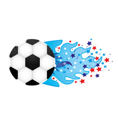 colorful olympic flame with stars and soccer ball vector image vector image