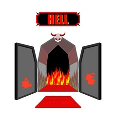 Gate to hell Entrance to hellish Inferno Access to vector image