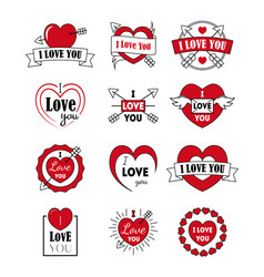 i love you labels badge set as logotype and vector image
