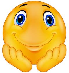 Thinking emoticon smiley vector image vector image
