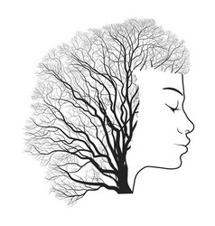 woman portrait with double exposure face and tree vector image vector image