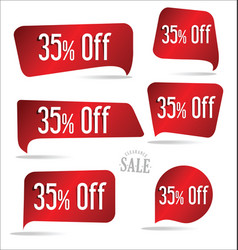 35 percent off red sticker collection vector image