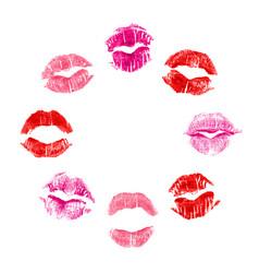 8 imprints of lipstick vector