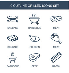 9 grilled icons vector
