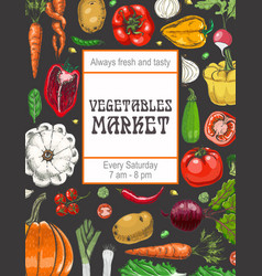 a poster with various vegetables vector image