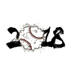 abstract number 2017 and baseball vector image