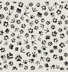 animal tracks black and white background with vector image