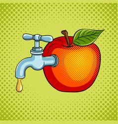 Apple fruit with tap pop art vector