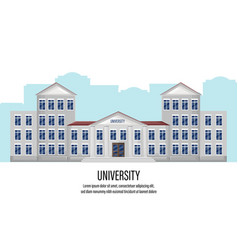 architectural facade university flat style vector image