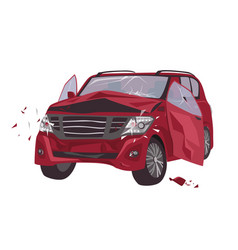Automobile damaged collision isolated on white vector