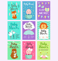 Baby shower design card cute woodland vector
