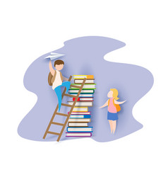 Back to school card with boy books and girl vector