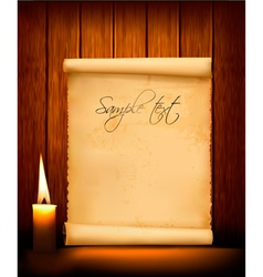 Background with old paper and candle vector
