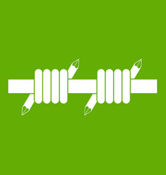 Barbed wire icon green vector