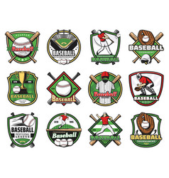 Baseball sport balls bats players stadium field vector
