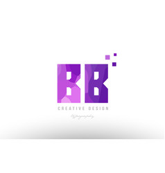 bb b b pink alphabet letter logo combination with vector image