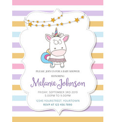 Beautiful baby shower card template with lovely vector