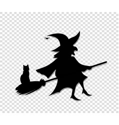 black silhouette of witch flying on broom with vector image