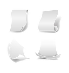 blank paper sheets with curled edges and smooth vector image