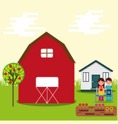 boy and girl gardeners vector image