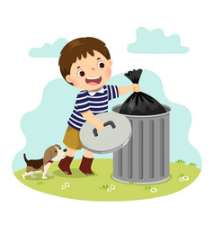 Boy taking out trash vector