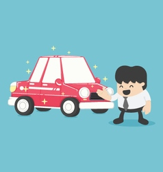 Businessman standing next to new car red vector image