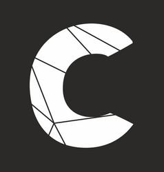 C white alphabet letter isolated on black vector