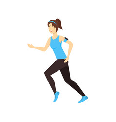 cartoon character woman trains running sport vector image