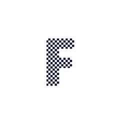 Checker pattern logo letter f vector