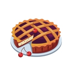 Cherry Pie and Slice vector image