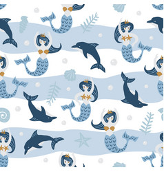 Childish seamless pattern with cute dolphin and vector