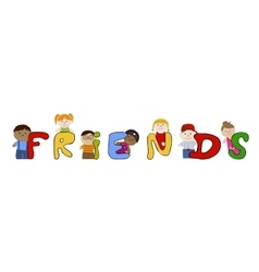 Children friends Muliracial friendship vector