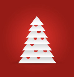 christmas tree of white layered triangles on red vector image