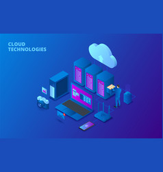 cloud data storage isometric vector image